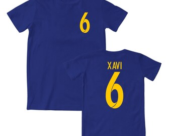 Xavi 6 Barcelona Style Football T-Shirt 15/16 - Kids and Adult Sizes Available - Navy/Yellow