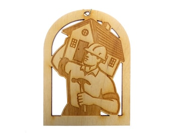 Carpenter Ornament - Contractor Ornament - Home Builder Ornament - Contractor Gift - Contractor Gifts - Personalized Free