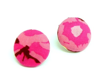 Fabric Button Earrings - Magenta pink floral fabric