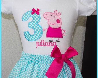 Peppa Pig Birthday Skirt outfit Name and age included