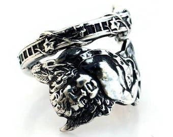 Spoon Ring Sterling Silver Cupid Art Nouveau Watson Size 6-15