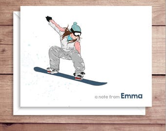 Snowboarder Note Cards - Folded Note Cards - Personalized Snowboarder Stationery - Thank You Notes - Snowboard Note Cards