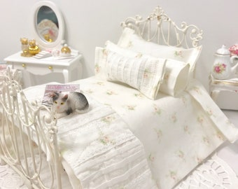 Shabby Cottage Chic Dollhouse Pink Roses Bed Set/Dollhouse Miniatures/1:12 Scale Single Dollhouse Beds/Doll Bed Linens/Miniature Bedding