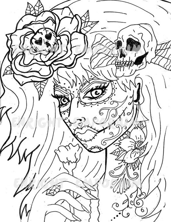 Items similar to Day Of The Dead Girl Coloring Page Digital Download