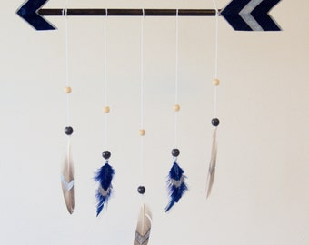Arrow Baby Mobile - Custom Colors - MADE TO ORDER - Arrow & Feathers Mobile - Boho Nursery Decor Boho Baby Mobile - 11 Color Options