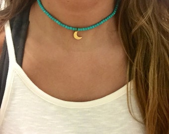 Turquoise stretch choker necklace with moon charm