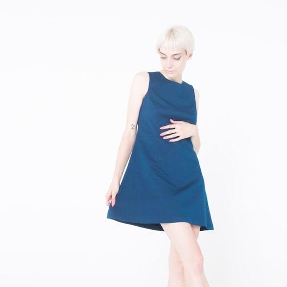 Mod Kleid A-Linie Kleid Vintage-Stil Teal blau Kleid Mod