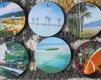 Vintage  CAIRNS Great Barrier Reef 1990's Souvenir Bar Coasters Set of 6