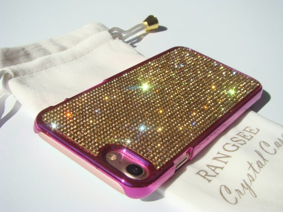 iPhone 8 Case / iPhone 7 Case Gold Topaz Rhinstone Crystals on  Pink Chrome Case. Velvet/Silk Pouch Included, .