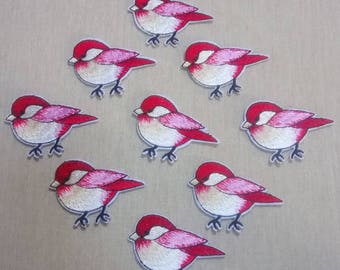 1 patch fusible spring birds