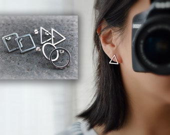 Earring posts, Silver 925 round / square / Triangle. Delicate jewelry / minimalist jewelry / everyday earrings