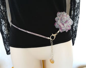 Belt fine way purple python, purple, handmade chiffon flower
