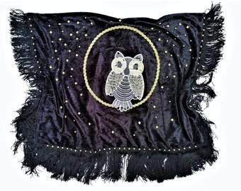 Long Kimono Cardigan Oversize Velvet Kimono Fringe Boho Shawl Robe Festival Jacket Bohemian Duster Coat Gypsy Owl Moon Shawl Robe
