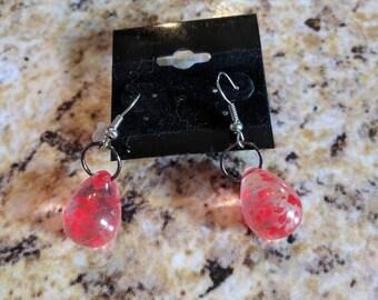 Dangle earrings - clear drops with red splatters