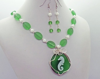 Seahorse Sea Glass Jade Necklace Earrings Set