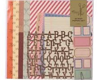 Paper craft kit, Scrap paper set, Scrapbooking kit, Paper set, Paper sheets, Album design, Album decoration