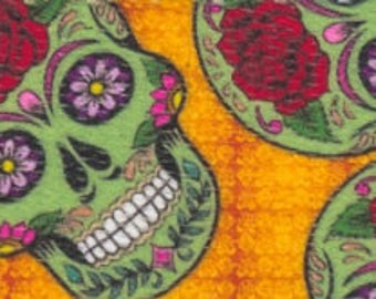 """5/8"""" Sugar Skulls Polyester Webbing - One, Two, or Five Yards - More Available"""