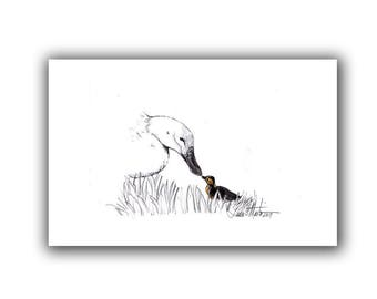 New Mom Duck Gifts Duckling Ducky Nursery Art Print Momma Duck Art Drawing  LLMartin Country Farm Artwork