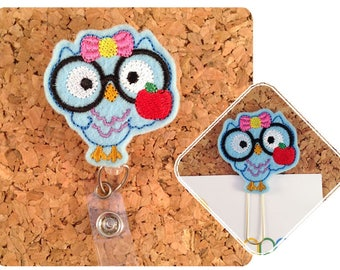 Owl Nerd Paper Clip, Badge Reel ID Holder, Retractable Lanyard, Teacher Gift, Magnet, Brooch Pin, Bookmark, Planner Accessories,  Blue 922