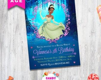Tiana Princess invitation, Tiana party, printable girls party invite, Tiana birthday, princess and the frog, invitation, CANDY-017