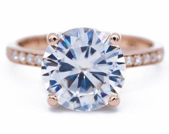 """8mm Round Moissanite Center and Diamond Halo Filigree Basket and Shoulders """"Moment"""" Ring"""