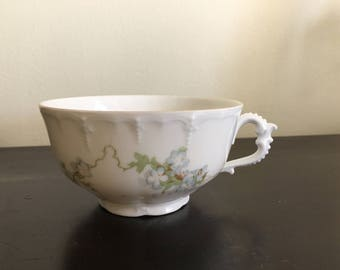 Antique Austrian Habsburg China Tea Cup Hand Painted Blue Forget Me Not Flowers / 1900s tea cup