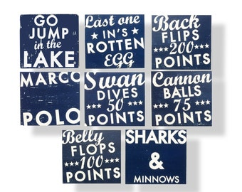 Set of 8 Lake signs in any color