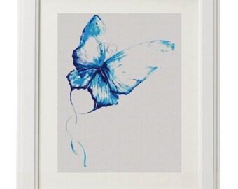 Pretty blue Butterfly. Cross Stitch Pattern PDF File. couned cross stitch pattern. butterfly cross stitch
