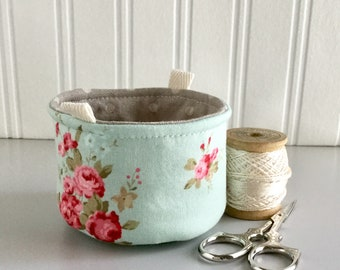 Small Fabric Bucket Pink and Blue Floral Print Bag Fabric Bag Floral Print