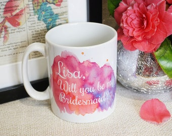 Bridesmaid mug, Maid of Honor mug, Wedding party mug, Mother of the Bride mug, Mother of the Groom mug, Here comes the bride, proposal mug
