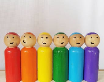 Rainbow - UNFINISHED Wooden Peg Dolls - DIY Kit