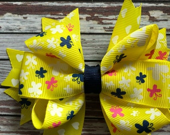 Yellow butterflies and hearts hairbow hair clip barette