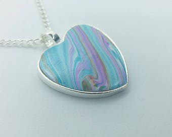 Polymer Clay Heart Pendant Necklace U100103
