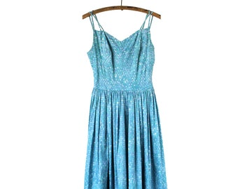Beautiful 1950s Vintage Turquoise Cotton Strappy Sun Dress - Medium