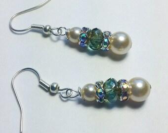 Pearl Earrings. Wedding Earrings. Crystal Earrings. Long Drop Earrings. Blue Earrings. White Pearl Earrings. Freshwater Pearl Earrings.