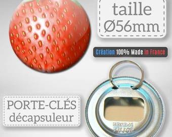 Keychain bottle opener Fruit Strawberry idea gift Badge 56 mm