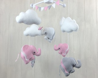 Baby hanging mobile - elephant mobile - crib mobile - nursery decor - clouds - butterfly - baby mobile