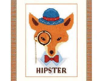 Cross Stitch Kit Fox hipster DIY Modern Cross Stitch Punto de cruz point de croix Cross stitch Set Hand Embroidery Wall Decor Idea gift