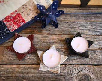 Set of 3 Mini Ceramic Americana Star Tea Light Holders | Red White Blue Stoneware Tea Bag Holder | Mini Trinket Dish | July 4th Decor