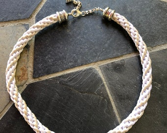 18.25 inch that Adjusts to 20 inche White and Tan Kumihimo Braid Necklace/Choker
