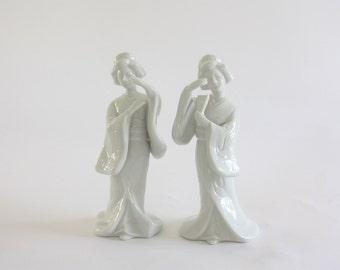 Vintage Pair of White Porcelain Geisha Figures