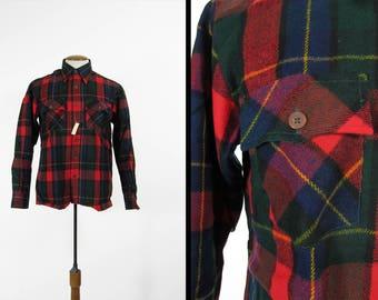 Vintage Red Flannel Shirt NOS Plaid Button Up Woodland Acrylic - Medium