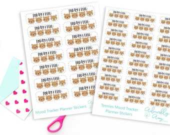 How I Feel Today Mood Tracker Planner Stickers for Erin Condren, Plum Planner, Inkwell Press, Filofax, Kikki K or Any Size Planners