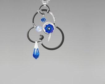 Steampunk Pendant with Blue Swarovski Crystals, Swarovski Necklace, Sapphire Swarovski Crystal, Statement Jewelry, Khloris v2