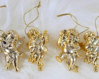 Gold Angels Ornaments, Set of 6, Angels Christmas Ornaments, Gold Christmas Ornaments, Christmas Ornament, Vintage Angels, Vintage Ornament