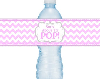 She's About To Pop Water Bottle Labels, INSTANT DOWNLOAD, Light Pink Chevron About to Pop Baby Shower, you print, you cut, DIY