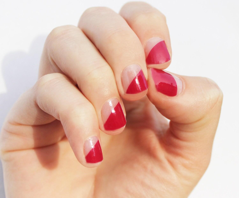 Raspberry Modern French Nail Wraps