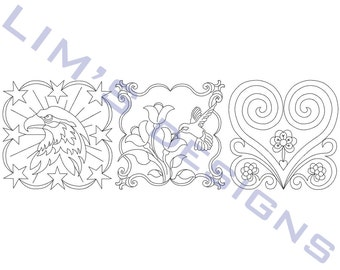 "Three Quilt Patterns N36 machine embroidery designs - 3 sizes 4x4"", 5x5"", 6x6"""