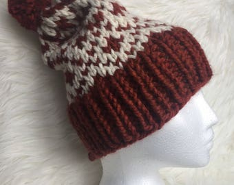 Winter warm cozy hat made with a wool blend yarn.