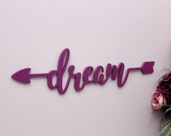 Elegant Dream Wooden Arrow Sign, Dream Wall Decor, Wood Sign Art, Wood Dream,  Office Decor, Laser Cut Wood Sign, Kids Room Wall Decor, Gallery Wall